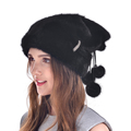 Autumn Winter Beanies Hat Women New Arrival Skullies Casual Cap With Real Wink Fur Hats 2016