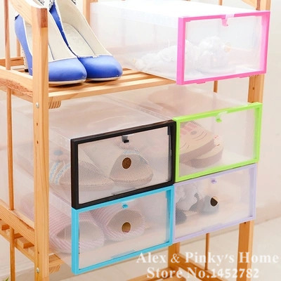 1PC Free Combination Shoes Box Drawer Organizer Shoe Storage Cover Wrapping Clear Plastic Shoe Storage Box(China (Mainland))