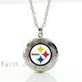 Free shipping photo locket necklace Pittsburgh Steelers pendant necklace with antique silver chain football jewelry for