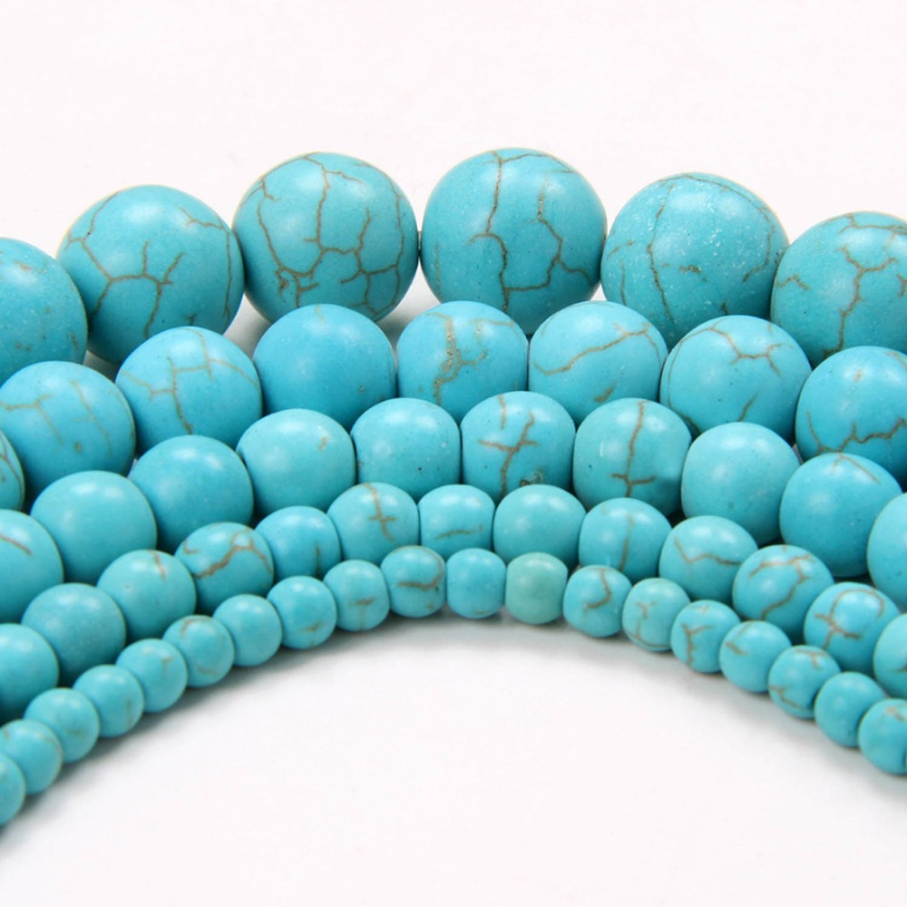 New! Top Quality 2015 Sale Round Natural Green Turquoise Beads for Jewelry Making 4 6 8 10 12 MM Free Shipping Wholesale(China (Mainland))