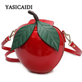 Women Crossbody Bags Famous Brand Red Circular Apple Bag Fashion Female Messenger Bags Leaves Mini Bags