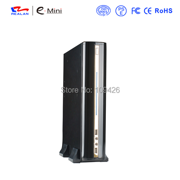 Realan 2007C Golden and Black Mini ITX Micro ATX Case Desktop Computer Case With 120W Power Supply, PC ITX ATX Case HTPC(China (Mainland))