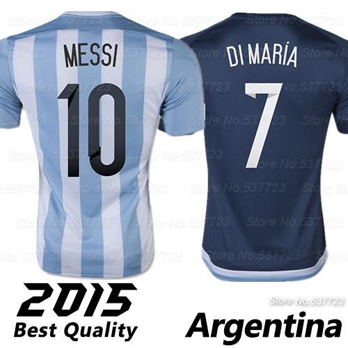 Top AAA Quality Argentina Jerseys 2015 MESSI DI MARIA Home Away 15 16 Argentina Soccer Jersey Football Soccer uniform shirts(China (Mainland))