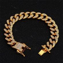 13mm Iced Out kubański naszyjnik łańcuch Hip hop biżuteria Choker złoty srebrny Rhinestone CZ zapięcie dla mężczyzn raper modne naszyjniki Link(China)