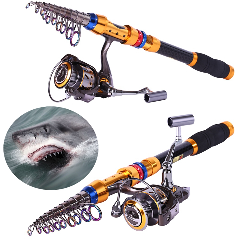 Carbon Telescopic Fishing Rod Pole With 13BB Metal Spinning Reel Fishing Rods and Reels Set(China (Mainland))