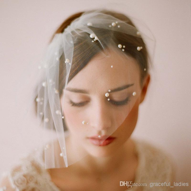 ミニチュールベールベールの顔を持つ花嫁短い頬紅真珠結婚式ブライダルの魅惑的な物鳥かごのベール付き櫛veuドnoiva.jpg (800×800)