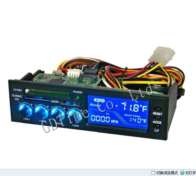 6PCS New 4 Channel E-SATA LCD Panel Fan Speed Controller For Computer CPU VGA Fan(China (Mainland))