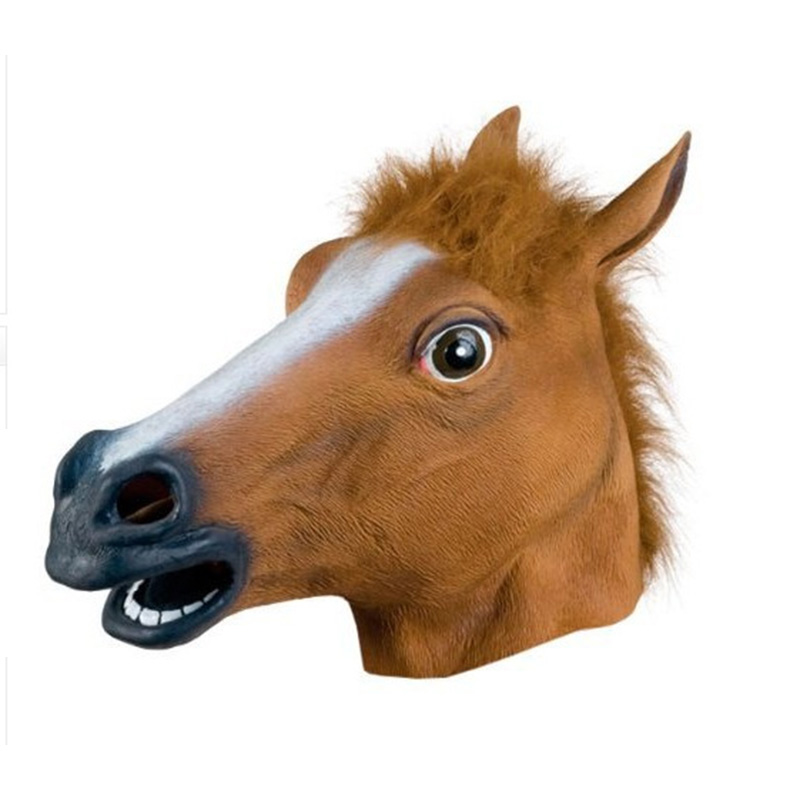 New Crazy Latex Rubber Super Creepy Horse Head Mask Toys Party Halloween Decorations Fur Mane Party Mask(China (Mainland))