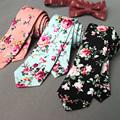 Mantieqingway Floral Ties For Men Skinny Mens Ties Gravatas Slim Corbatas Vestidos Wedding Cotton Groom Neck