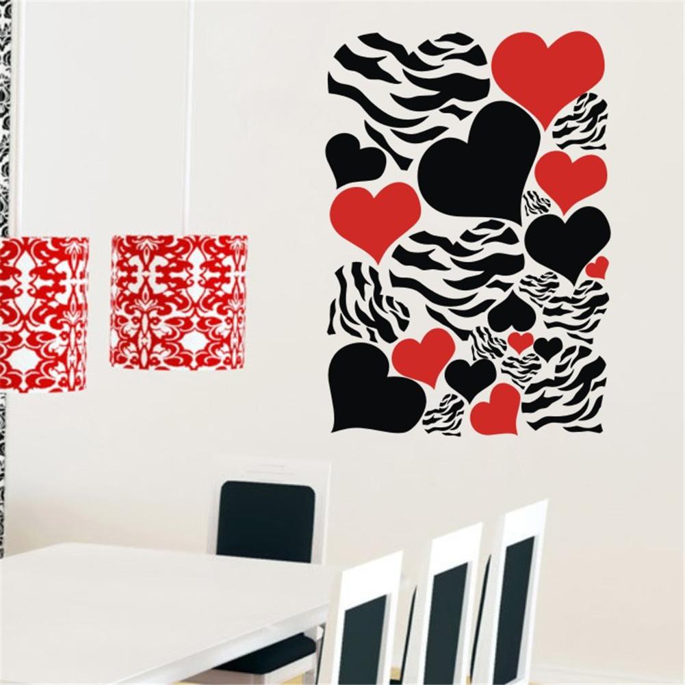 Zebra Heart shaped Wall Decor Art Vinyl Removable Black ...