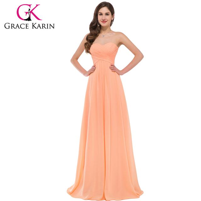 Грейс карин милая шифон длинные платья невесты 2016 Ruched элегантный вечернее платье ...