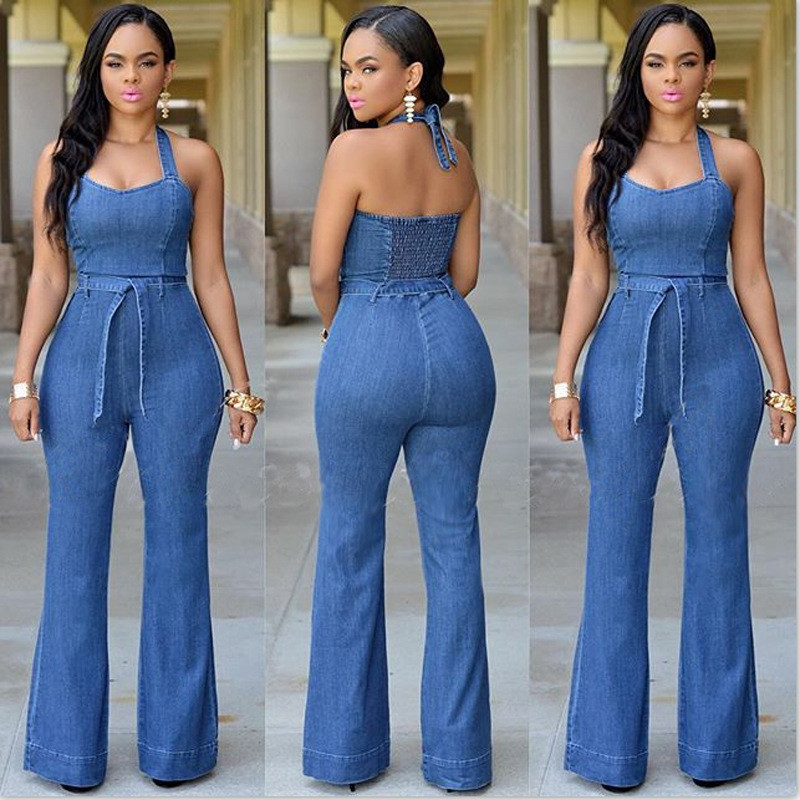 Lastest Women Denim Jumpsuit One Piece Romper Pants Blue Jean Fitted