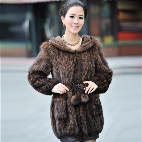 New Fashion Luxurious Genuine Mink Fur Coat Natural Knitted Mink Fur Coats Jacket Fur Women outerwear With Hooded BF-C0036(China (Mainland))