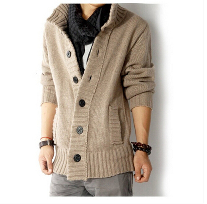 Fast Shipping fashion big lapel single-breasted men's sweater real wool cotton men's sweater men's coat wool coat cardigan man(China (Mainland))