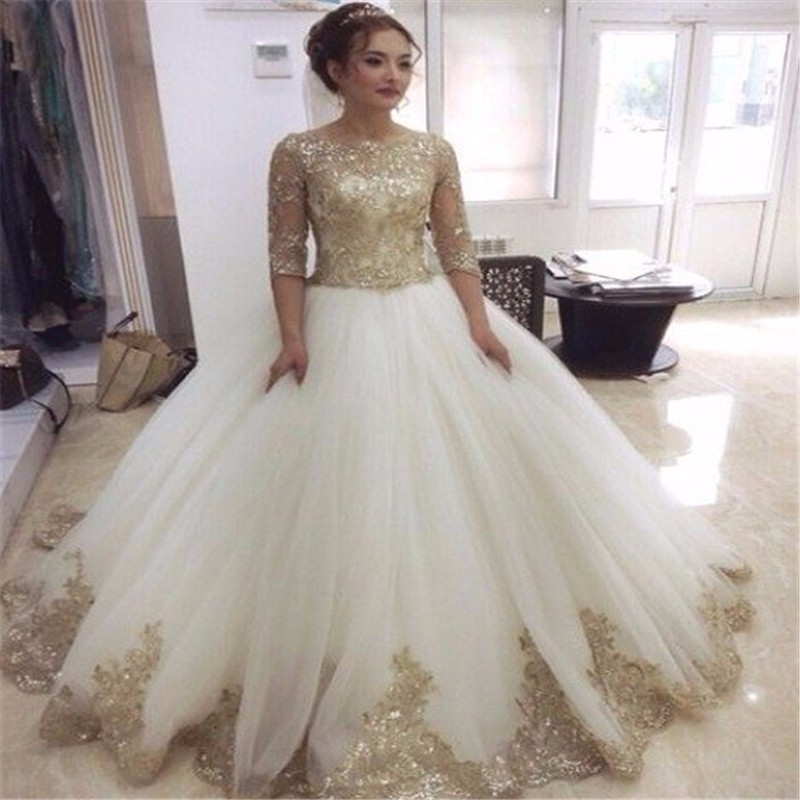 Vintage Wedding Dresses Gold : Half sleeve scoop neckline ball gown vintage wedding dresses with gold