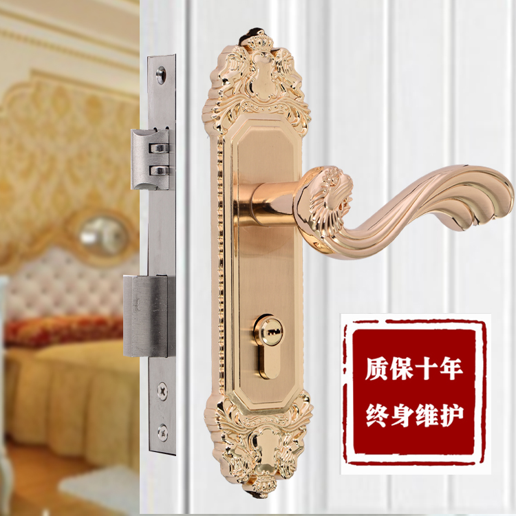 European style suit indoor bedroom solid wood door lock mechanical door lock set door lock handle(China (Mainland))