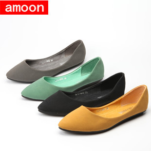 Amoon / Women Girl 2015 New Spring Summer Autumn Fashion Rubber Solid Simple Nubuck Ballet Flat 1217#88/ 5 Colors/7 Plus 41 Size - ^^ Flats and More store