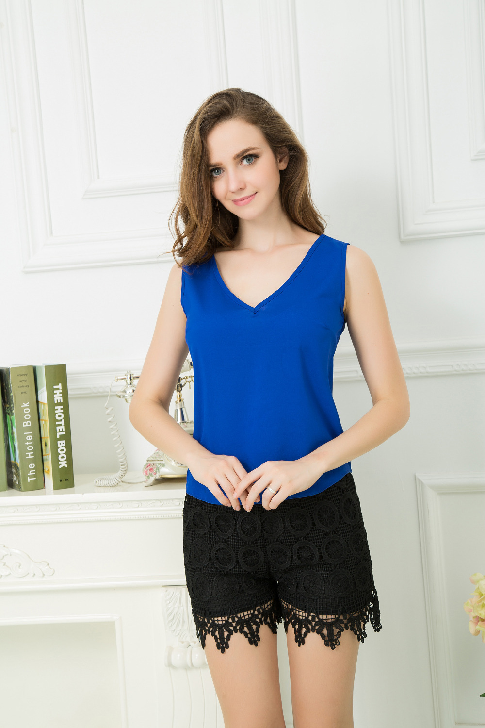 2015 Summer New Arrival Women's V-NECK Casual Sleeveless Vest Polyester Camisole Tank Tops Blouse Shirt(China (Mainland))