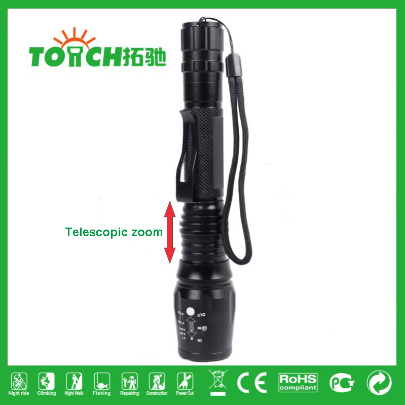 2016 New Product Outdoor Hiking 3000 Lumens 5-Mode Zoomable CREE XML-T6 LED Flashlight strong light torch 2*18650 Battery 8066(China (Mainland))