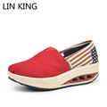 LIN KING British Style Canvas Casual Shoes Summer Slip On Floral Low top Wedge Heel Women
