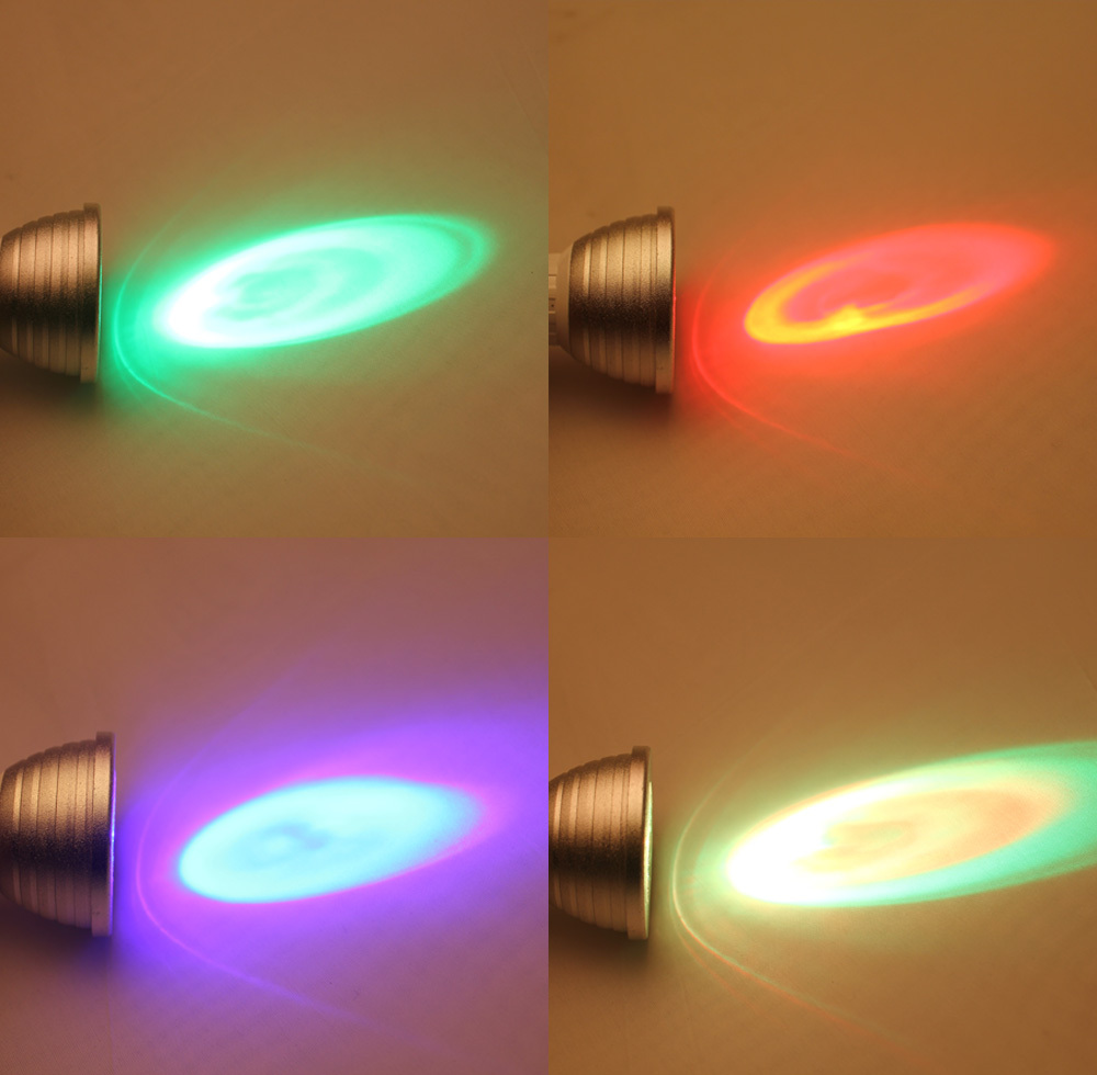 4X RGB 3WBulb Lamp 16Colors Changing 85V-265V Magic Stage DJ Disco Lights Dimmable Led Lampada IR Controller In GU10 LED Bulb