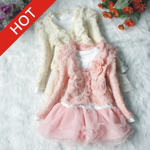 New 2015 Girls Clothing Spring New Fashion Two-piece Girl Dress Summer Dress Baby Girl Clothes Cute tutu vestido 4 Size aa777(China (Mainland))
