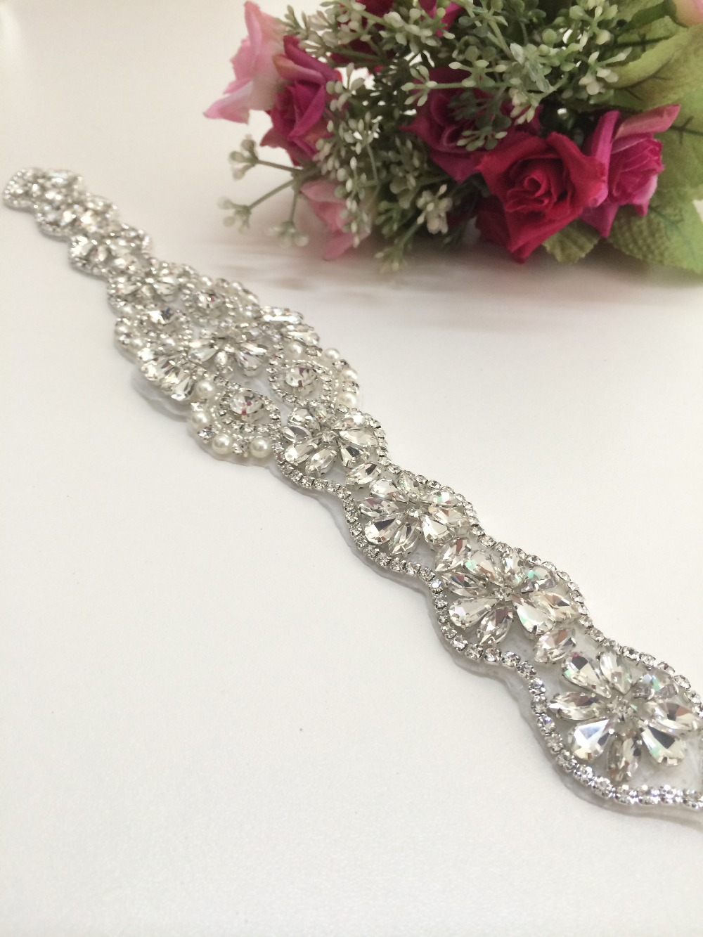 Rhinestone applique bridal accessories crystal trim for Wedding dress sash with rhinestones