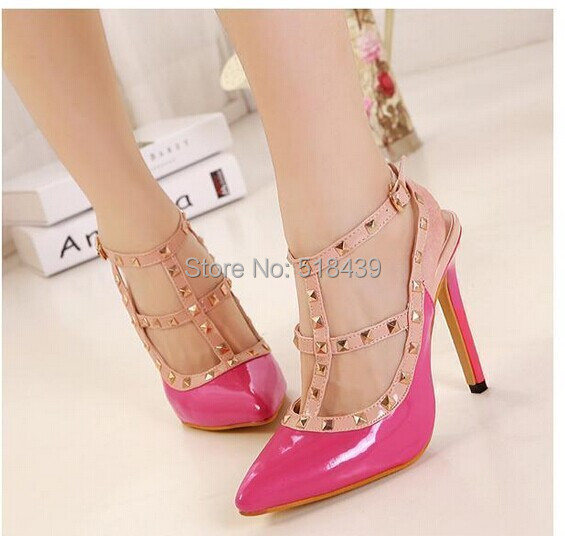 New 2015 Shoes Women Pumps High Heels Fashion Rivet Shoes Pointed Toe Sandals Sapatos Femininos Scarpin Gladiator Summer Style(China (Mainland))