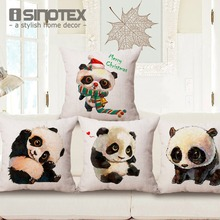 Buy Cushion Cover Cute Panda Cotton Linen Throw Pillow Case Baby Room Decorative Sofa Chair Seat 45*45Cm/17.7*17.7'' Merry Christmas for $2.99 in AliExpress store