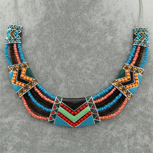 2015 Bijoux Fashion Ethnic Necklace For Women Silver Plated Multicolor Enamel Beads Statement Chokers Necklaces Vintage