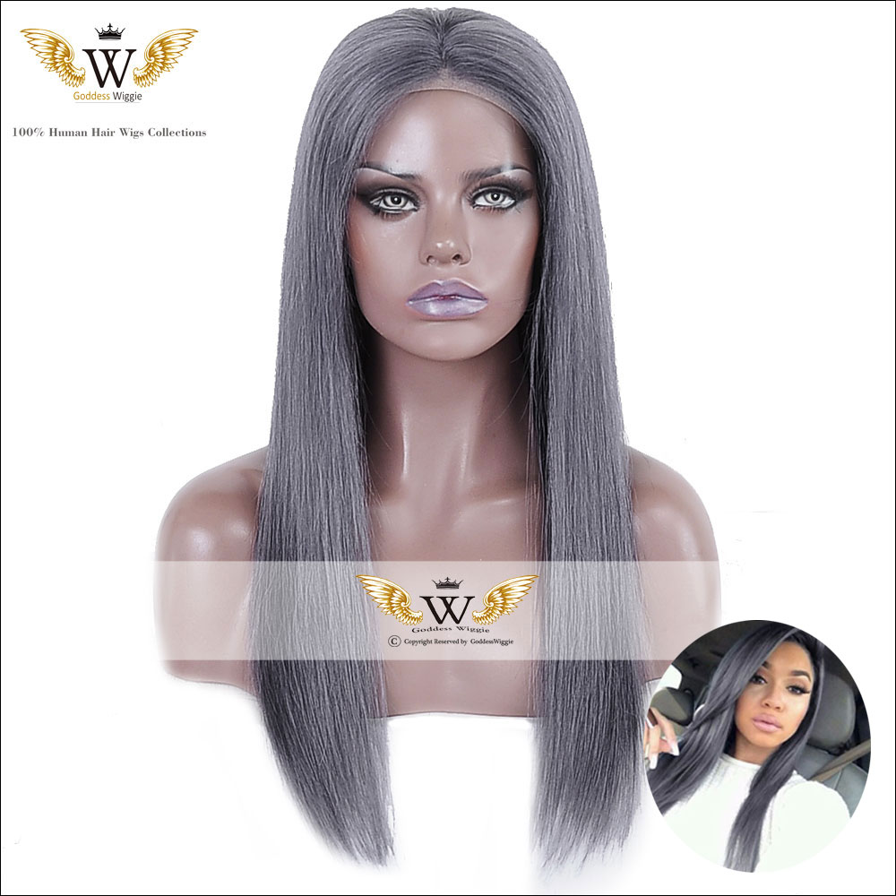 7A Brazilian Virgin Hair Dark Grey Full Lace Human Hair Wigs With Baby Hair Glueless Lace Front Grey Human Hair Straight Wigs