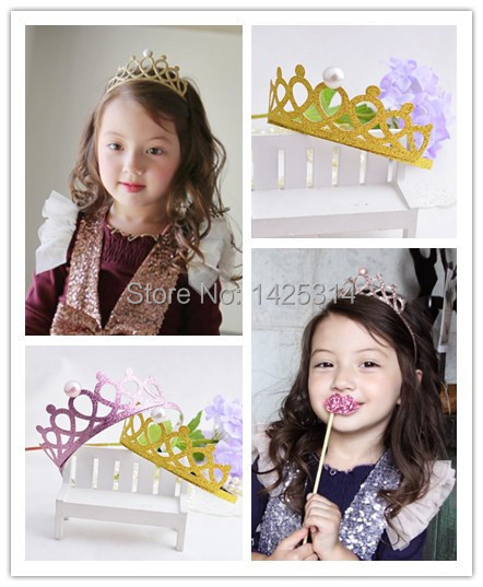 12PC/lot Shiny Pearl Girls Hair bands Children Party Princess Crown Hair Clasp Covered with glitter High-end children's headwear(China (Mainland))
