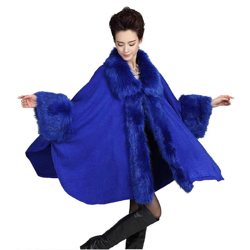 Women Cardigan Autumn Winter Knitted Cashmere Poncho Feminino Faux Fur Collar Bridal Wedding Shawl Vintage Wool Coats Cloak A011 - Kelvin & Alice Store store