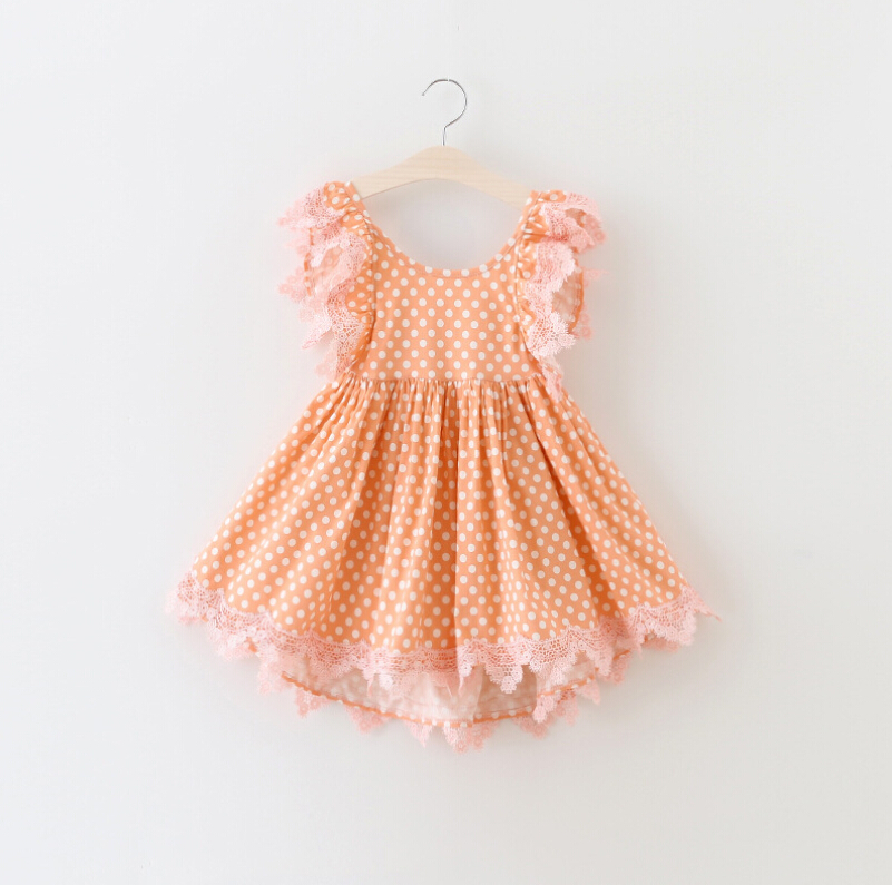 New Baby Girls Summer Puff Sleeve Dot Lace Dresses, Princess Kids Cute Clothes 5 pcs/lot,Wholesale(China (Mainland))