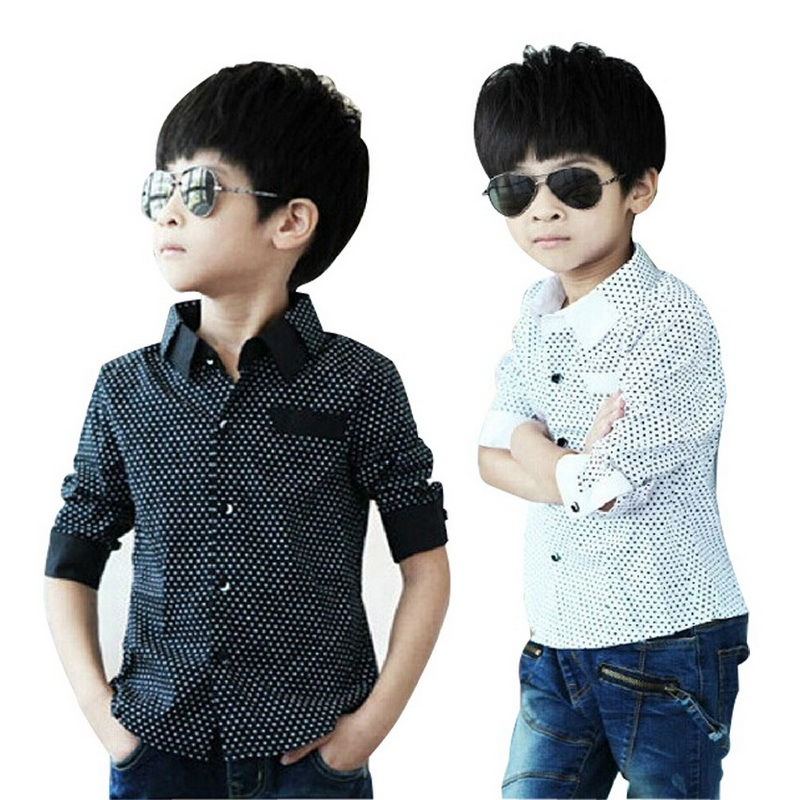 2016 NEW polka dot design long sleeve boys shirts spring & fall turn collar children shirt boy formal clothes, C235 - Rising Kid store