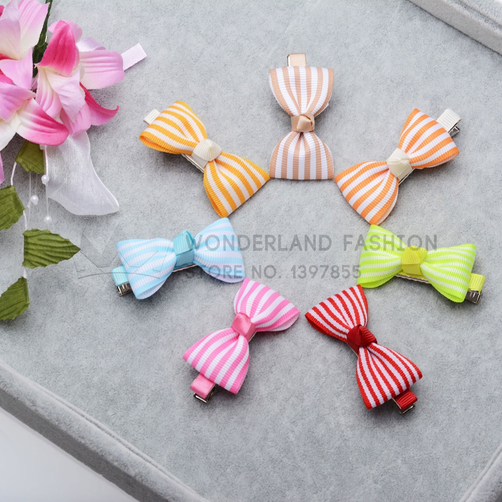 New Fashion Hot Sale Stripled Pattern Polyester Butterfly Metal Clip Hair Clip Pin for Women Girls Children Kids(China (Mainland))