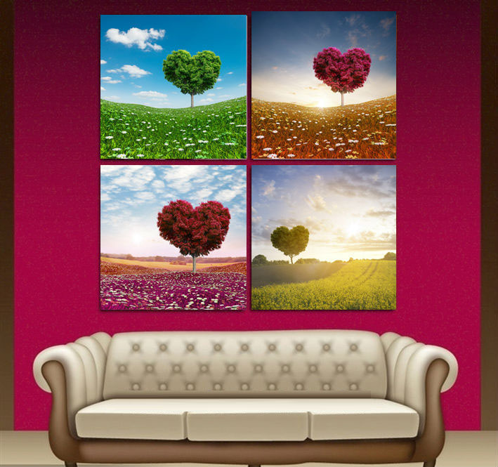 4 Pieces/set Wall Art Print Painting Heart Trees Beautiful Colorful Heart Canvas Art for Home Decor Living Room Frameless(China (Mainland))