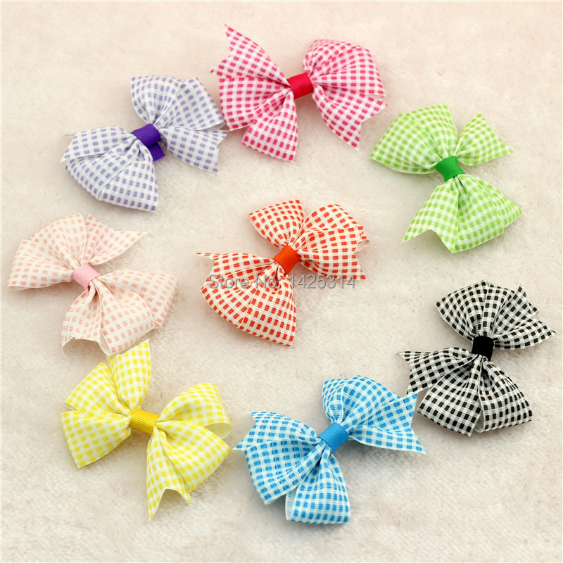 3 2 Plaid font b Tartan b font Checkered pattern Ribbon Bows Baby Hair accessories Toddlers