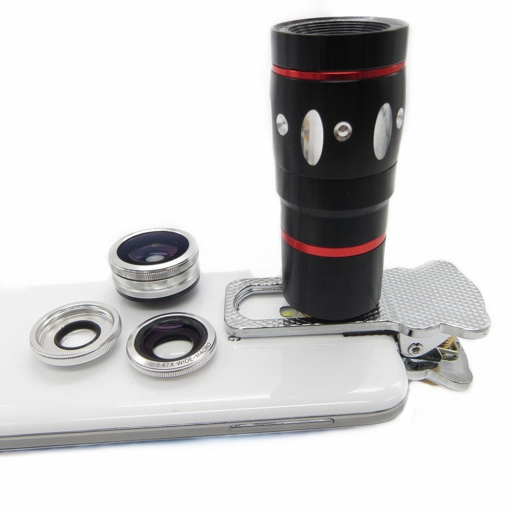 Mobile Phone Lens 4 in 1 Universal Fish Eye Wide Angle Macro Lenses 10X Telescope Clip lens For iPhone 4 4S 5 5S 6 Plus Samsung