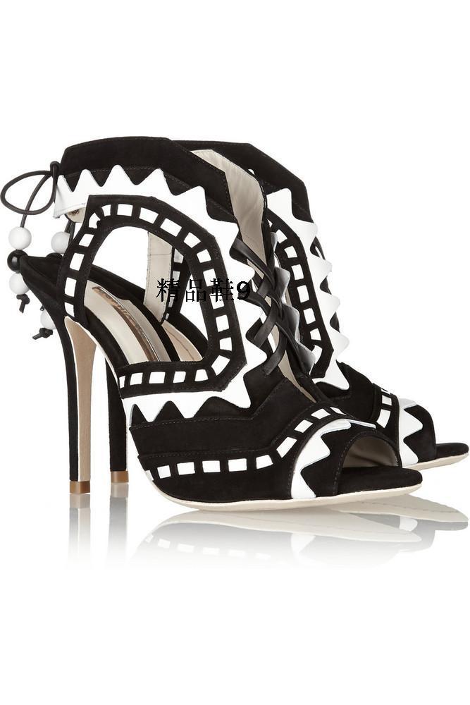 The latest designer brand fashion fretwork high heels pumps 2015 summer women sandals shoes woman heels(China (Mainland))