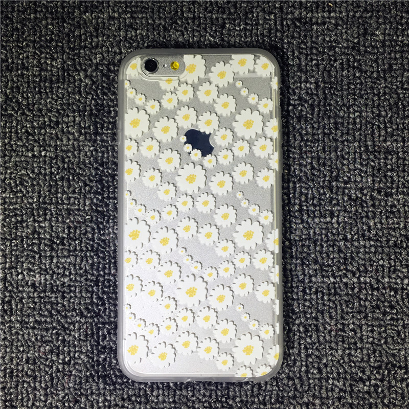 Butterfly Daisy Love Heart Lace Ultra Thin Transparent Soft TPU Phone Case Back Cover for Apple