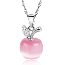 Lovely Pink White Opal Choker Apple Shape Pendants Necklace For Women Fashion Clavicle Chain Apple Opal Collar Woman Girl(China (Mainland))