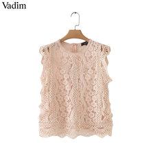 Vadim women sweet lace crop top sleeveless O neck transparent blouse female hollow out short stylish shirts blusas WA242(China)