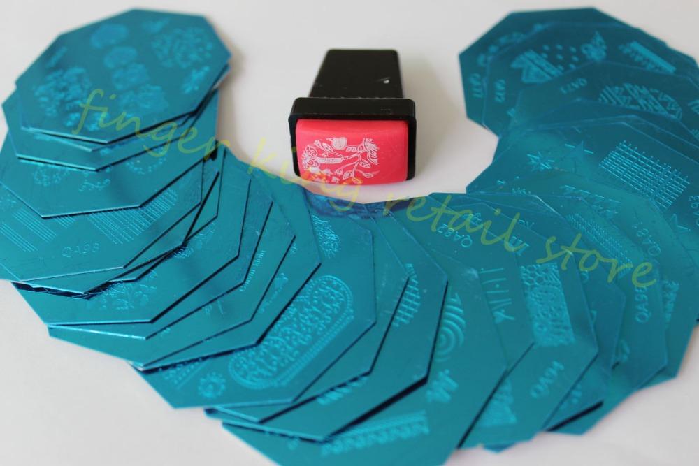 Nail Art Image plate 33 pcs Nail polish Series 66~98 diameter 64mm Gift Red Stamper and Scraper Free shipping! #X208(China (Mainland))