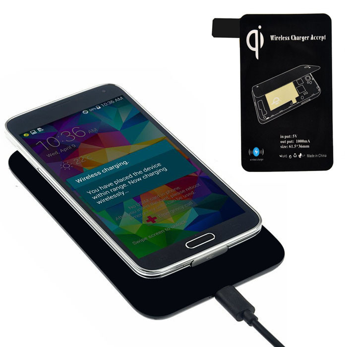 Puscard Qi Wireless Charger + Receiver Tag For Samsung Galaxy S5 i9600 G900 Free Shipping&Wholesales