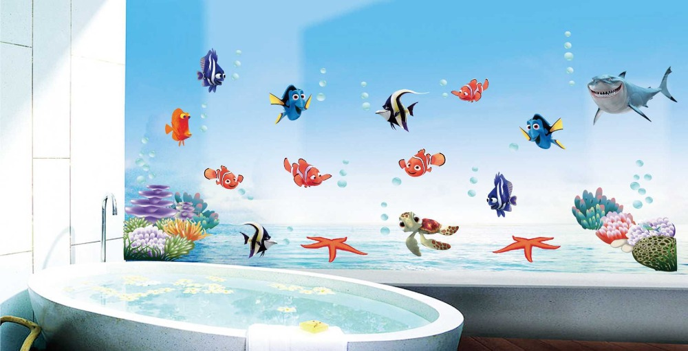 New sofa backdrop wall stickers removable color cartoon wall decor the underwater world poster cute kids gift(China (Mainland))
