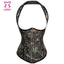 Black Floral&Golden Dragon Embroidery Jacquard Steel Boned Sexy Corset Steampunk Underbust Waist Training Vest Corsets For Sale