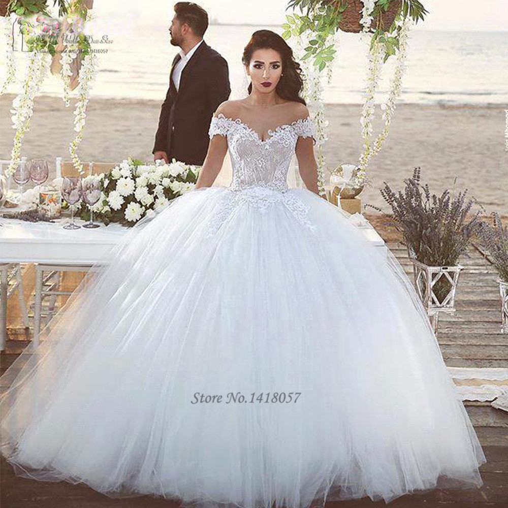 2016 elegant white champagne wedding dresses turkey lace for Off the shoulder ball gown wedding dress