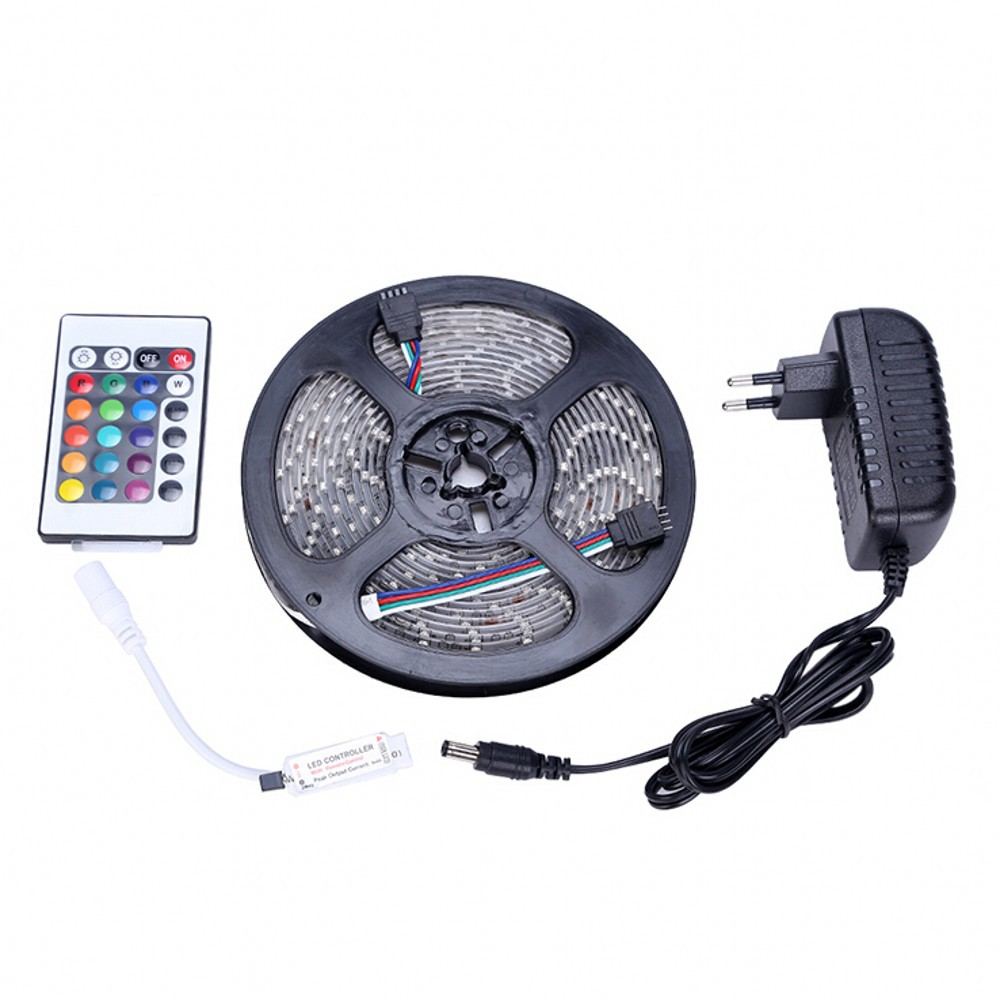 waterproof 3528 RGB LED Strip Light 5m+ 24key Remote Controller +12V 24W 2A Power supply(China (Mainland))
