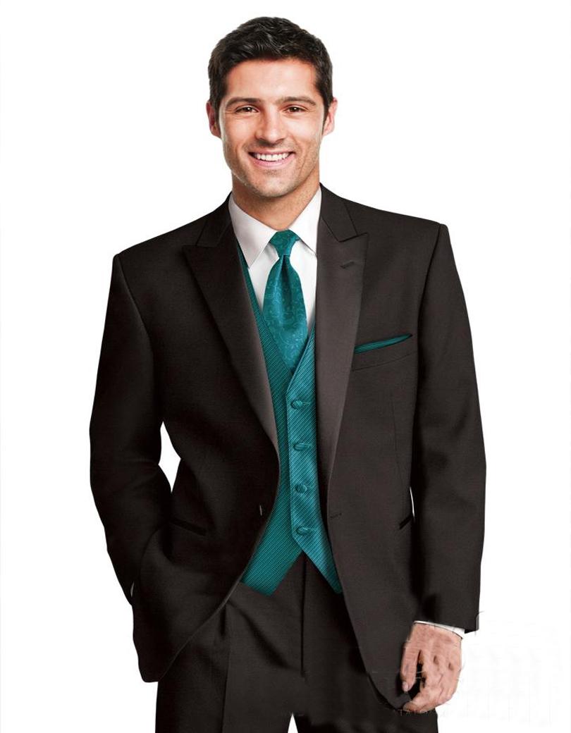 Classic Men Suits Peaked Lapel Tuxedos Black Wedding Suits For Men 2016 Groomsmen Suits One Button Mens (jacket+pants+vest+tie)